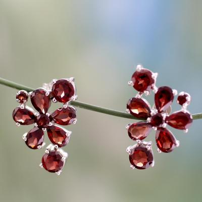 Garnet flower earrings, 'Scarlet Petals' - Handcrafted Floral Sterling Silver Garnet Earrings