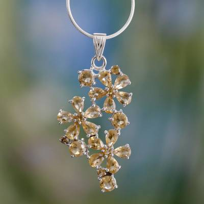 Citrine flower necklace, 'Sunshine Petals' - Citrine flower necklace