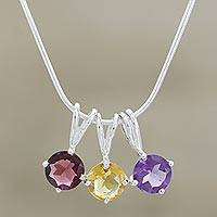 Amethyst and garnet choker, 'Festive India' - Multigem Pendant Necklace from India