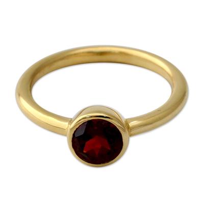 Handcrafted Vermeil Solitaire Garnet Ring