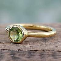 Gold vermeil peridot solitaire ring, 'Verdant Nature'