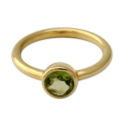 Peridot Solitaire Ring in Gold Vermeil from India Jewelry