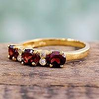 Gold vermeil garnet three-stone ring, 'Ode' - Gold vermeil garnet three-stone ring