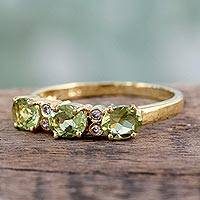 Featured review for Gold vermeil peridot three-stone ring, Ode