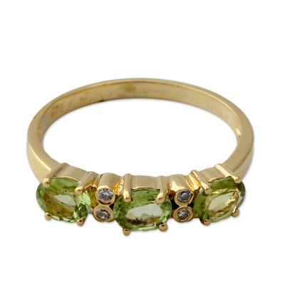 Gold vermeil peridot three-stone ring
