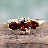 Featured review for Gold vermeil garnet 3 stone ring, Rajasthani Princess