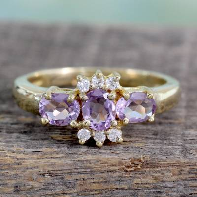 Gold vermeil amethyst cluster ring, 'Rajasthani Princess' - Unique Gold Vermeil Amethyst Cluster Ring