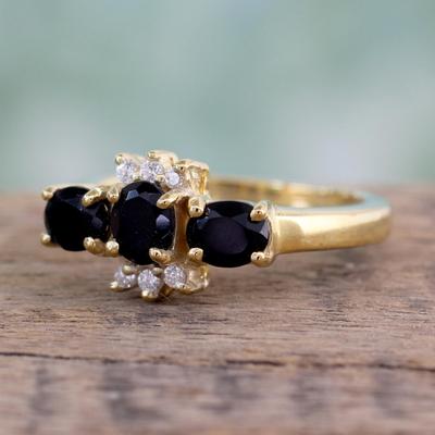 Gold vermeil onyx 3 stone ring, 'Rajasthani Princess' - Gold vermeil onyx 3 stone ring