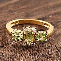 Gold vermeil peridot 3 stone ring, 'Rajasthani Princess' - Unique Gold Vermeil Peridot Ring
