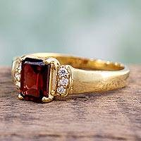 Gold vermeil garnet solitaire ring, 'Nosegay' - Gold vermeil garnet solitaire ring