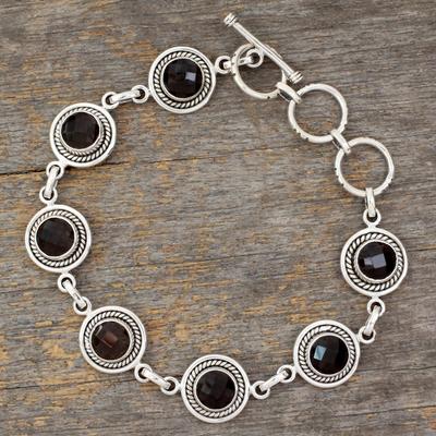 Smoky quartz link bracelet, 'Inner Life' - Smoky quartz link bracelet
