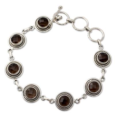 Smoky quartz link bracelet