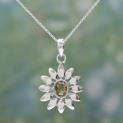 Citrine flower necklace, 'Sunflower' - Hand Crafted Floral Sterling Silver and Citrine Necklace