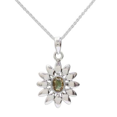 Hand Crafted Floral Sterling Silver and Citrine Necklace