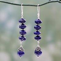 Lapis lazuli dangle earrings, 'Royal Blue' - Lapis lazuli dangle earrings
