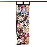 Cotton wall hanging, 'Summer Holiday' - Gujarati Patchwork Wall Hanging