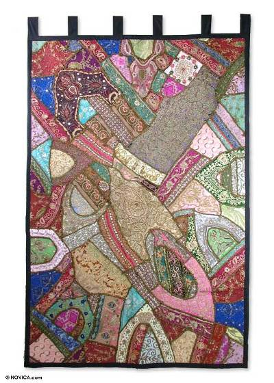 Cotton wall hanging, 'Jewels' - Cotton Patchwork Gujarati Wall Hanging Handmade in India