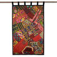 Cotton wall hanging, 'Wildflower Wonderland' - Gujarati Recycled Cotton Wall Hanging from India