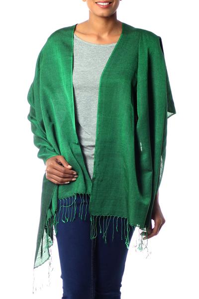 Silk and wool shawl, 'Emerald Jade' - Fair Trade Silk Wool Blend Shawl