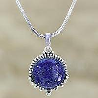 Lapis lazuli pendant necklace, 'Sea of Serenity' - Lapis Lazuli Pendant Necklace in Silver Setting