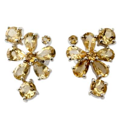 Hand Made Floral Citrine Button Earrings
