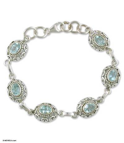 Sterling Silver and Blue Topaz Bracelet Indian Jewelry