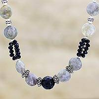 Onyx and labradorite beaded necklace, 'Mysterious Moonlight'
