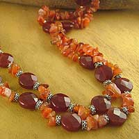 Carnelian strand necklace, 'Sunset Ritual' - Carnelian strand necklace