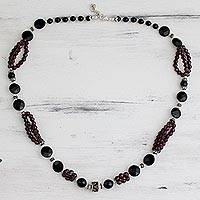 Garnet and onyx strand necklace, 'Bohemian Romance' - Garnet and onyx strand necklace