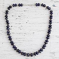 Lapis lazuli strand necklace, 'Mystic' - Lapis lazuli strand necklace