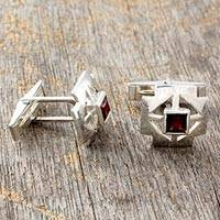 Garnet cufflinks, 'Cross' - Sterling Silver Garnet Cufflinks Men's Jewelry