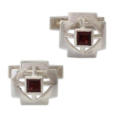 Garnet cufflinks, 'Cross' - Sterling Silver Garnet Cufflinks Men's Jewelry