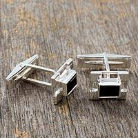 Onyx cufflinks, 'Art Deco' - Handcrafted Indian Onyx and Sterling Silver Cufflinks