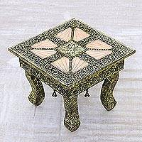 Nickel plated stool with copper accents, 'Copper Paradise' - Brass Repoussé Ottoman Unique Stool Made in India