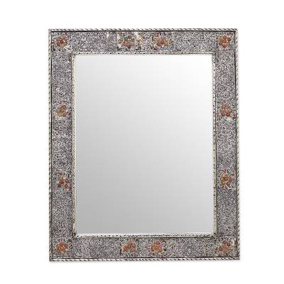 Mirror, 'Celebration' - Brass Repoussé Mirror Artistmade With Glass Gems