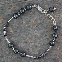 Hematite link bracelet, 'India Mystique' - Artisan Crafted Sterling Silver Beaded Hematite Bracelet