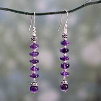 Amethyst dangle earrings, 'Head Over Heels' - Amethyst dangle earrings