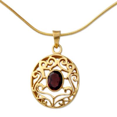 Handcrafted Vermeil and Garnet Necklace Golden Jewelry