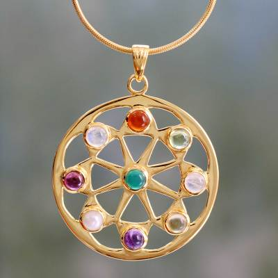 Gold vermeil and moonstone choker, 'Indian Sun' - Pearl and Gemstones on Gold Vermeil Necklace