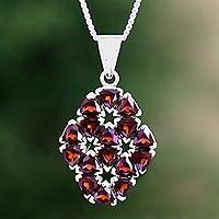 Garnet flower necklace, 'Glorious'