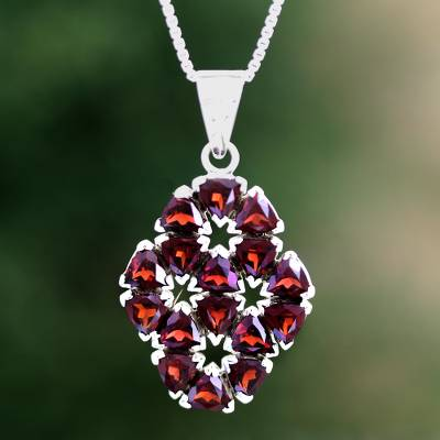 Garnet flower necklace, 'Glorious' - Handcrafted Floral Sterling Silver and Garnet Necklace
