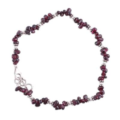 Handcrafted Garnet Sterling Silver Red Beaded Anklet
