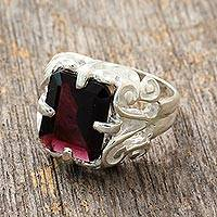 Garnet cocktail ring, 'Elegance' - Handmade Sterling Silver Single Stone Garnet Ring