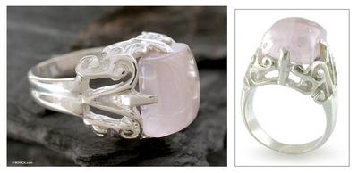 Rose quartz cocktail ring, 'Elegance' - Sterling Silver and Rose Quartz Cocktail Ring
