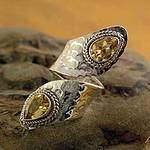 Sterling Silver Wrap Ring with Citrine Gemstone Jewelry, 'Golden'