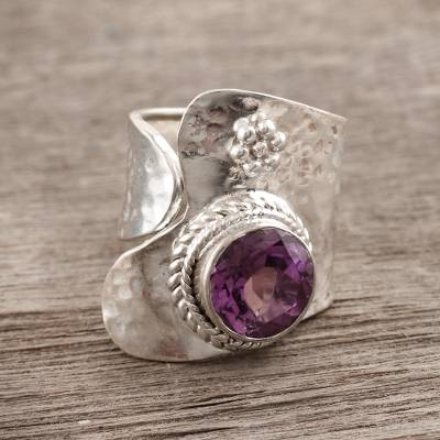 Amethyst wrap ring, 'Regency' - India jewellery Silver and Amethyst Wrap Ring
