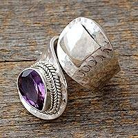 Amethyst wrap ring, 'Curled Up' - Sterling Silver Single Stone Amethyst Ring