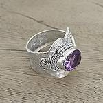 Sterling Silver Wrap Amethyst Ring India Jewelry, 'Her Majesty'