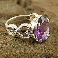 Amethyst cocktail ring, 'Ode to Love' - Amethyst Heart Cocktail Ring from India