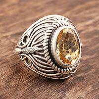 Citrine dome ring, 'Solar Flame'
